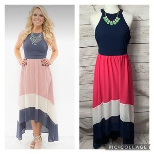 Filly Flair Halter Colorblock High Low Maxi Dress